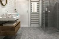 Black and White Pebble Tile in 2019 Master bath Bathroom Tiles