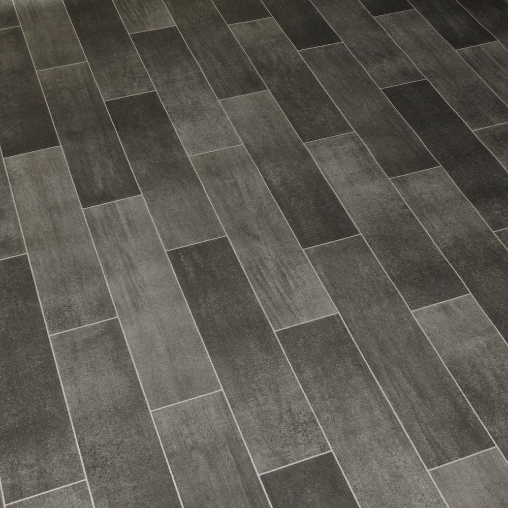 2M Wide High Quality Vinyl Flooring Dark Tile Designs