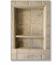 preformed niche, ready to tile niche, shower niche, shower recess, preformed recess, ready to tile recess, round shelf, divider shelf, recess-it, floating shelf
