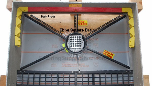 Shower floor drainage, quick pitch, shower stall, shower slope, Pre pitch slope, shower drain, tile ready shower pan