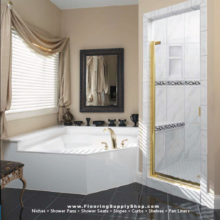 ready to tile shower pans, bathroom accessories, ceramic bathroom tiles, stainless steel tiles, mosaic tiles, Glass Tile, Metal Tile, Tile Trims, Ceramic tile, Shower Tile, Flooring Tile, Los Angeles Tile, stone, Porcelain, marble, Granite, install tile, Counter top tile, Bathroom Tile