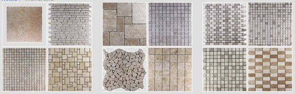 split face and blocks, onyx tile, onyx mosaics, decorative pebbles collection, stone borders, exotic mosaics