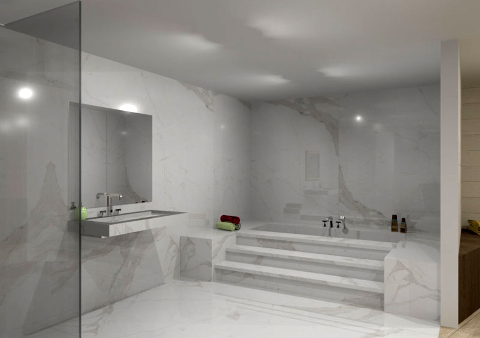 The contemporary bathroom with Stonepeaks porcelain floor