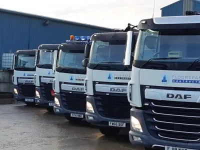 Floorspan's fleet of specialised precast beam & block concrete delivery and installation vehicles