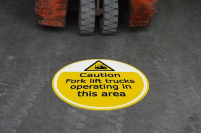 Caution Forklift Operating Floor Stickers  Signs