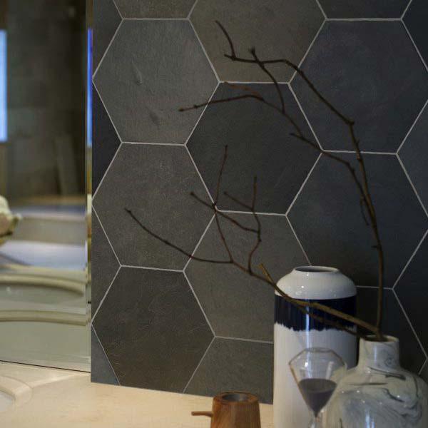black brazilian slate hexagon cleft