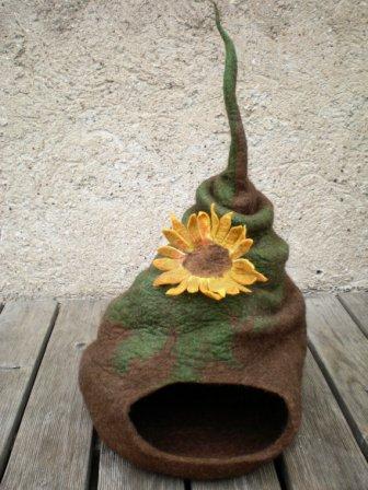 cat-villa with flower decoration