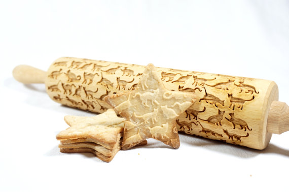 Embossing rolling pin - BEAUTIFUL CATS by HousemateArtist
