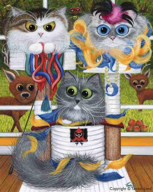 Gracie Illaria and Miss Mariposa - Fiendish Feline Painting