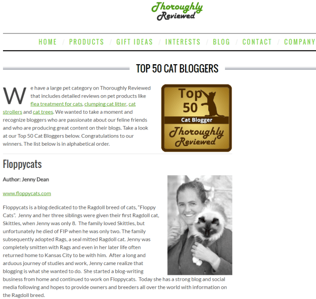 Top 50 Cat Bloggers on Thoroughly Reviewed