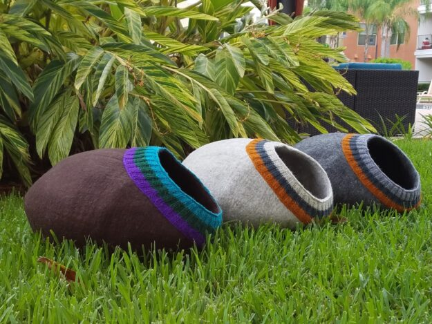 Meowfia Felted Wool Cat Cave Beds 5