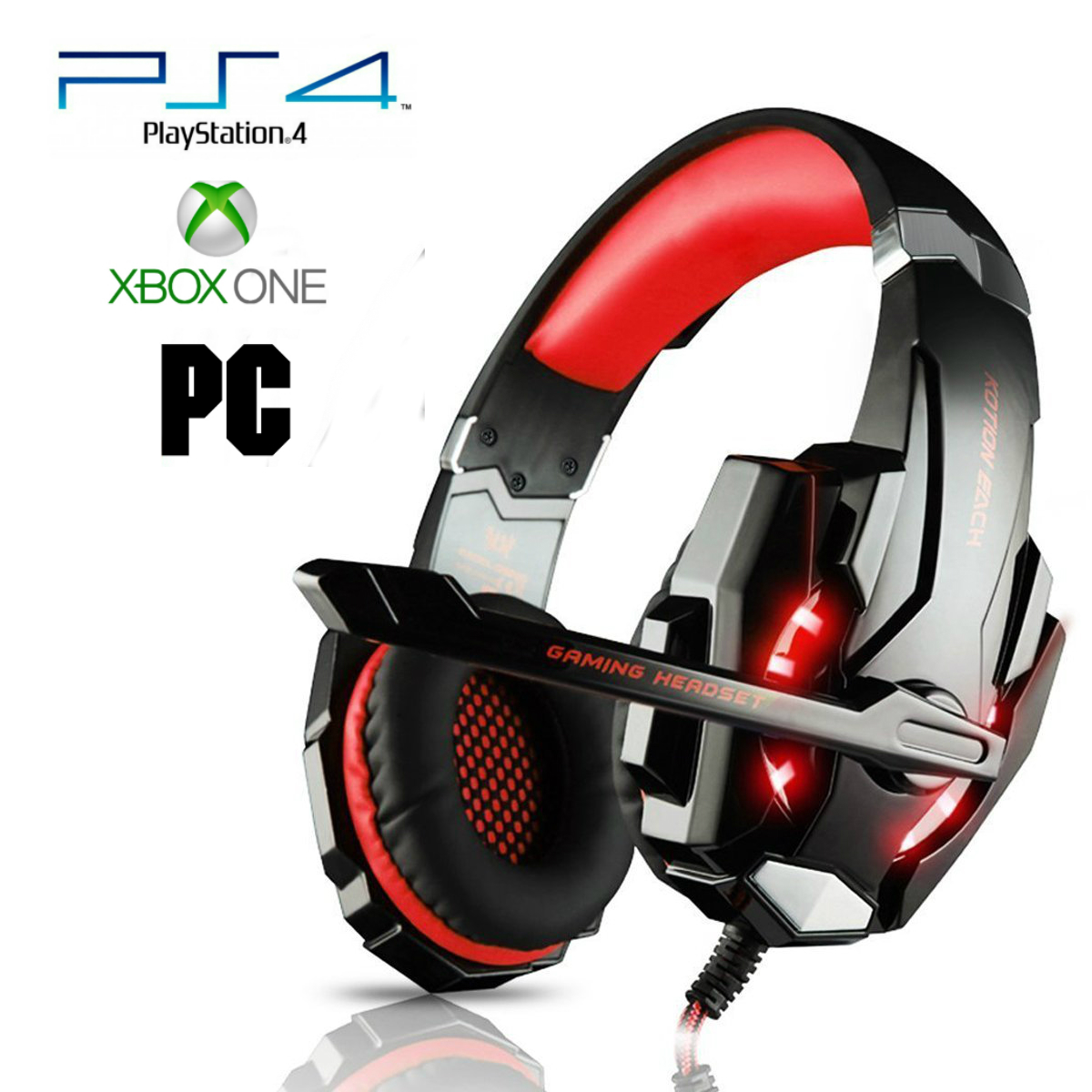 Pro Gamer PS4 Headset for PlayStation 4 Xbox One & PC Computer Red  Headphones | Flor1dausa