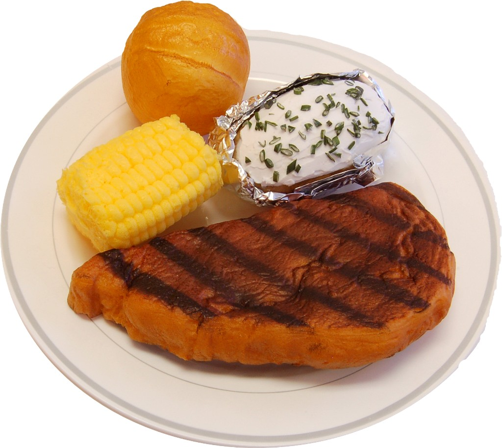 hight resolution of steak dinner plate fake food usa