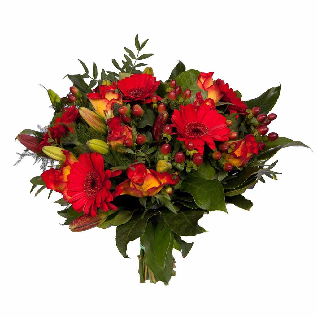 Boeket Oranje kleuren samen gesteld naar keuze van de bloemist