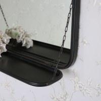 Black Metal Industrial Vanity Wall Mirror with Shelf 49 ...