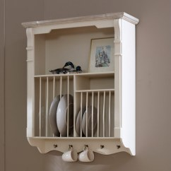 Country Shelves For Kitchen Counter Accessories Lyon Range - Cream Wall Mounted Plate Rack | Flora Furniture