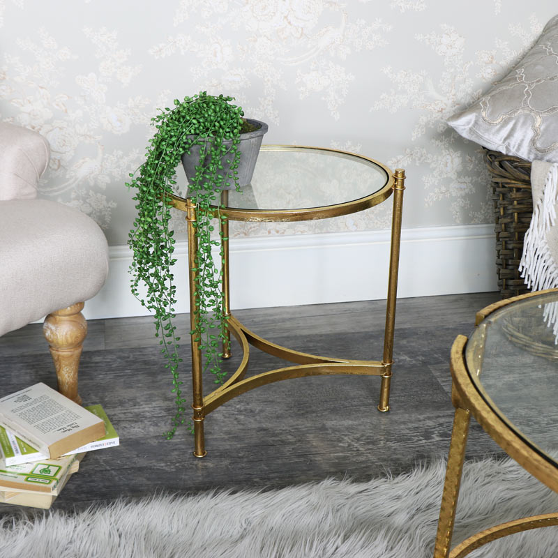 flora furniture antique gold round glass top side table