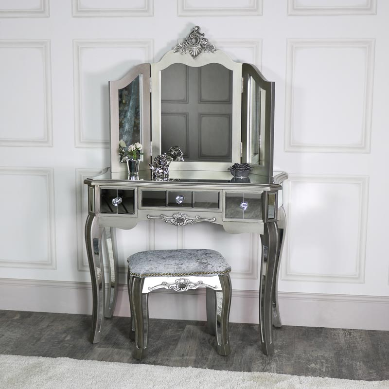 Ornate Mirrored 3 Drawer Dressing Table Stool and Mirror Bedroom Furniture Set  Tiffany Range