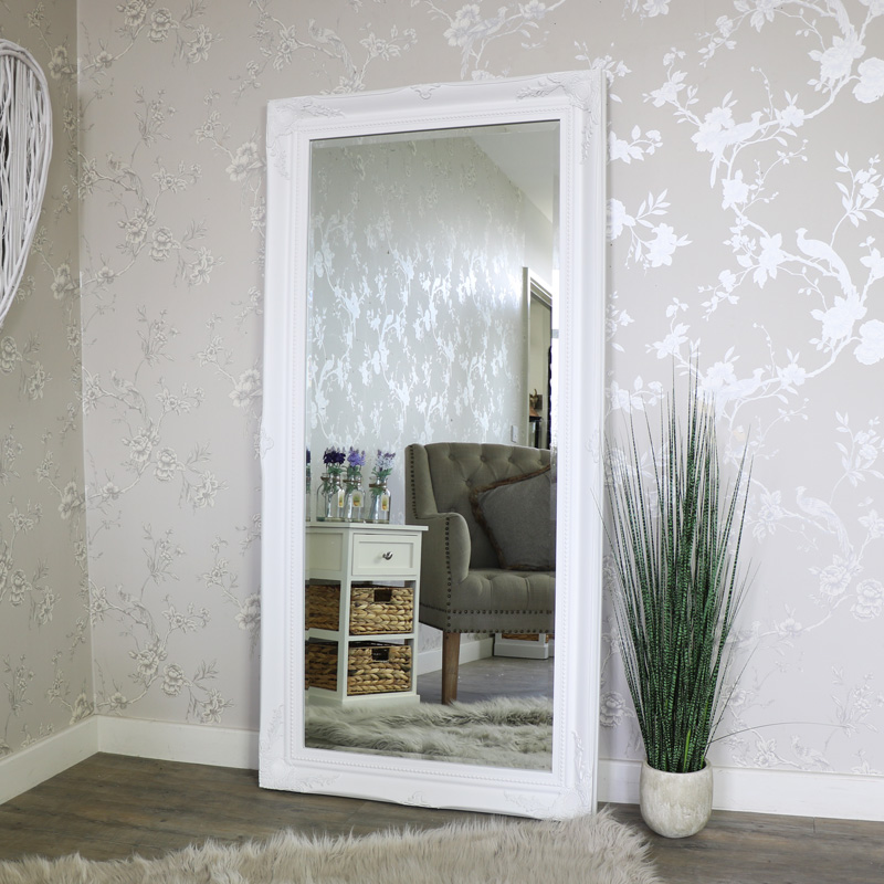 Extra Large White Ornate WallFloor Mirror 158cm x 78cm
