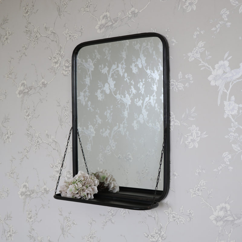 Black Metal Vanity Wall Mirror with Shelf  Flora Furniture