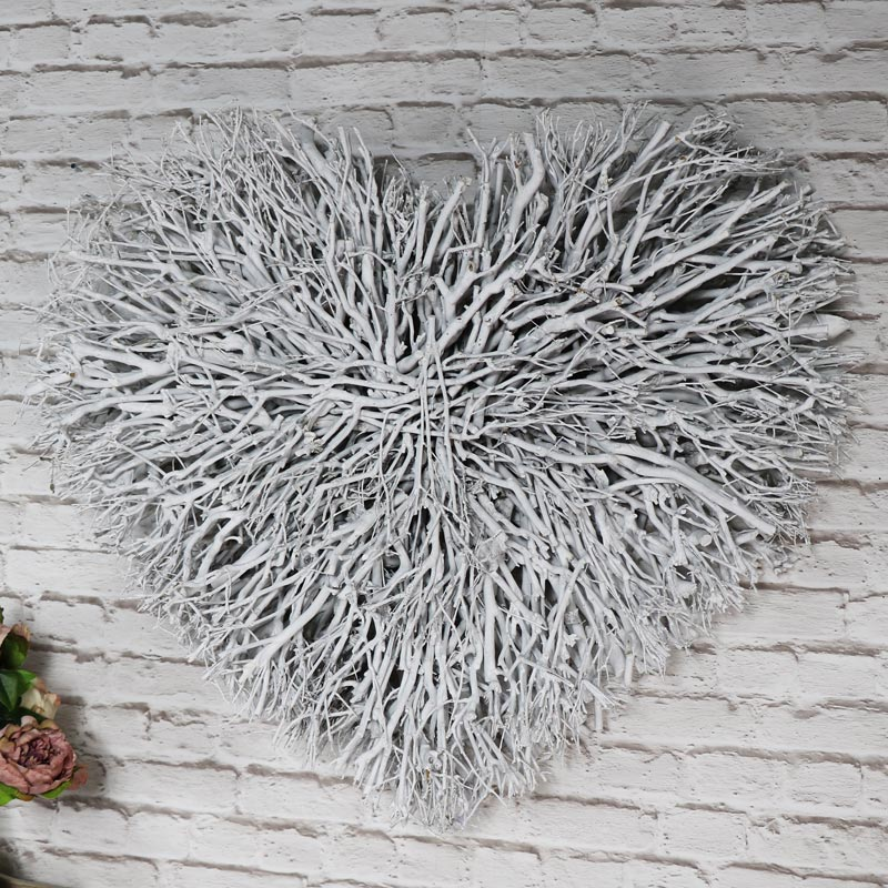 wicker living room sets entertainment large white washed twig heart wall art | flora furniture