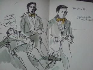 Drei Männer auf See - Skizze von Christian Badel