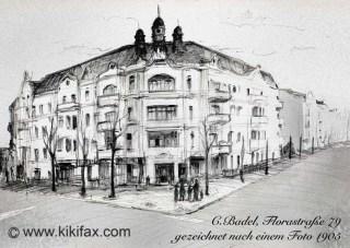 Markantes Haus im Florakiez, gezeichnet von Christian Badel