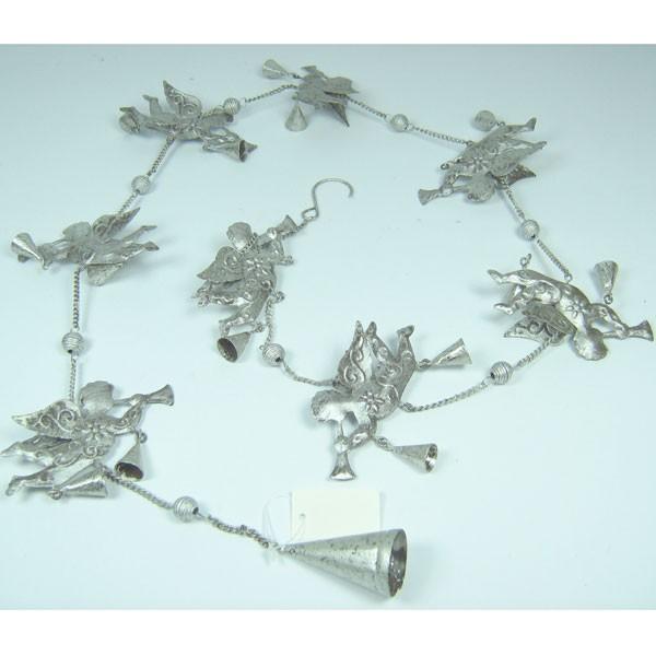 Girlande Fensterhnger Engel Metall silber 12m 120cm