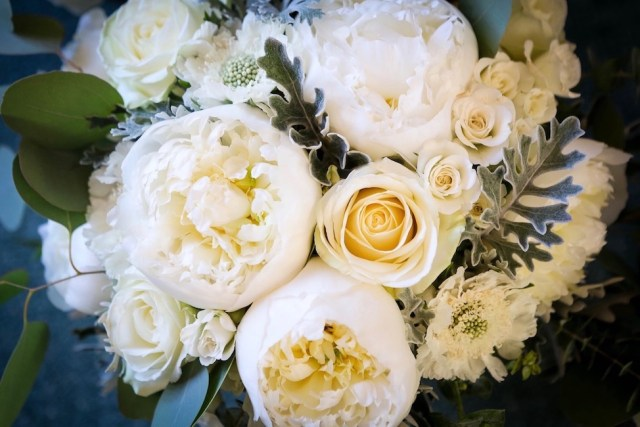 Wedding and bridal flowers with peonies