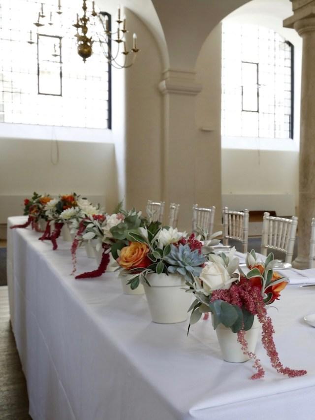 Top table flowers in Greenwich