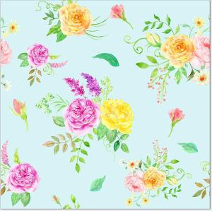 Pink and Yellow Flower Sprays on a Duck-Egg Blue Background, square ceramic wall tile. Made by Floral Tiles Ltd