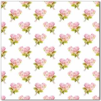 Flower pattern ceramic wall tile, pink hydrangea on a white background, Product Code Q10