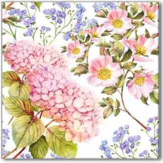 Floral ceramic wall tile, pink and blue hydrangea flowers with white background, Product Code Q2