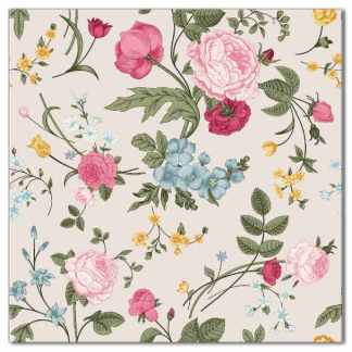 Wall tile with flowers design, vintage roses and peonies, Product Code Q6