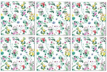 Floral pattern wall tiles, colourful flowers on a white background, example pattern design, Product Code Q1