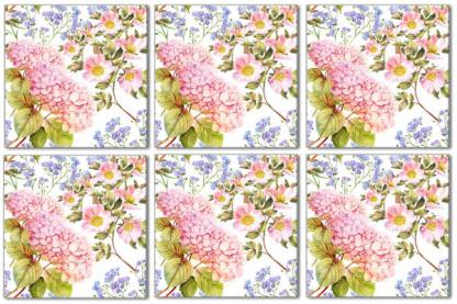 Floral wall tile example pattern design, pink and blue flowers with white background, Product Code Q2