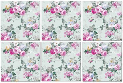 Wall tiles with floral pattern, pink roses on pale green background, tile pattern example, Product Code Q9