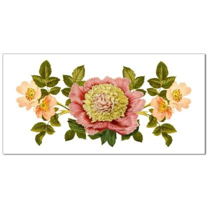 Pink floral Design on a white rectangular background, ceramic border wall tile