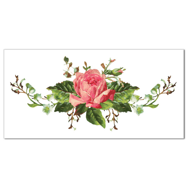 Pink 39 shabby chic 39 rose ceramic border wall tile for Shabby chic wall tiles