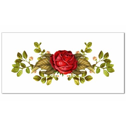 Red rose with green leaves on a white rectangular background, ceramic wall tile