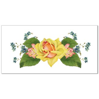 Yellow rose and blue flowers on a white rectangle background retro ceramic border wall tile