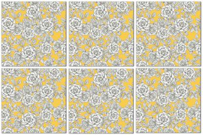 Wall tile example pattern design, white roses with yellow background, Product Code Q8