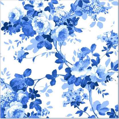 Blue Roses pattern on a white background square ceramic wall tile