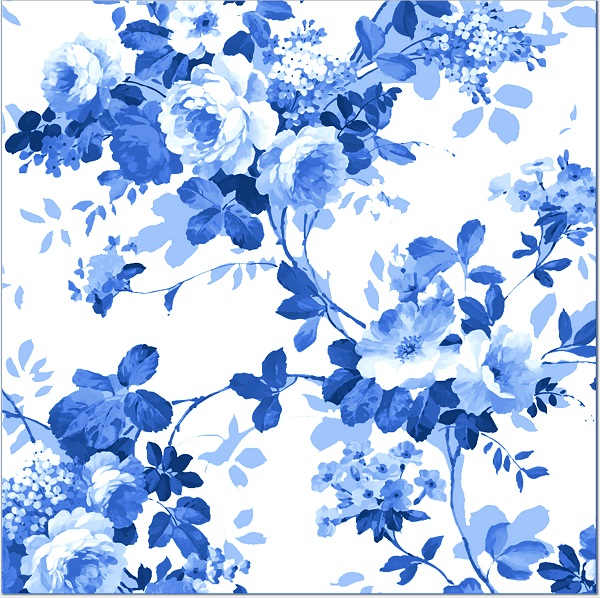 Blue Roses Pattern Ceramic Wall Tile