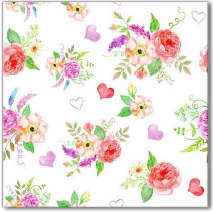 Roses and hearts floral pattern square ceramic wall tile