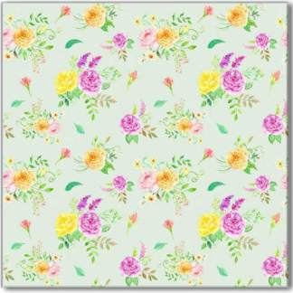 Flower Posies Pattern Ceramic Wall Tile