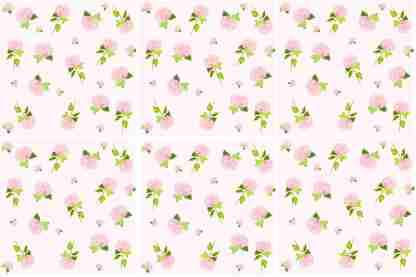 Hydrangea tiles - Ditsy Pink Hydrangea Ceramic Wall Tile Pattern Example