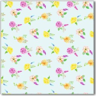 Yellow and Pink Roses Pattern Ceramic Wall Tile