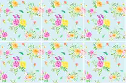 Summer rose bouquets on a duck-egg blue background, floral ceramic wall tile pattern example