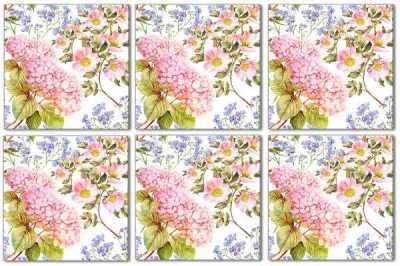 Hydrangea Tiles - Pink Hydrangea Patterned Tile - Pattern Example
